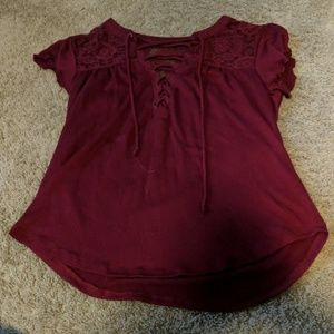 Burgundy Short Sleeved Cross Tie Shirt